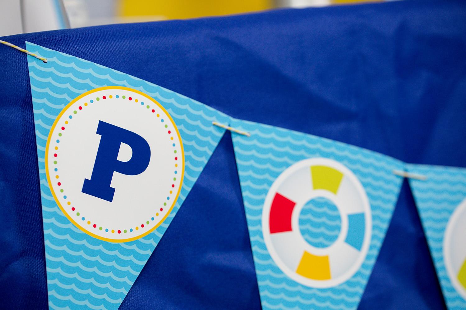 Printable Pool Party Birthday Banner 505 Design Inc