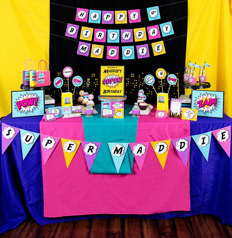 Printable Girls Superhero Party Decorations 505 Design Inc