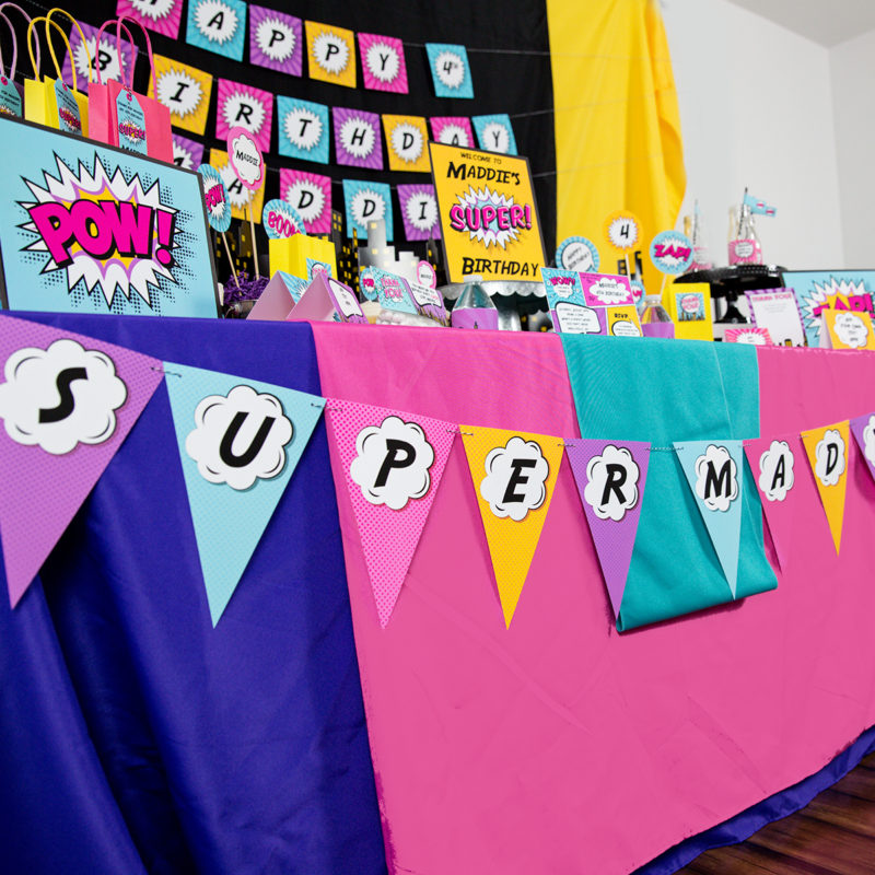 Girls Superhero Banner in Pink