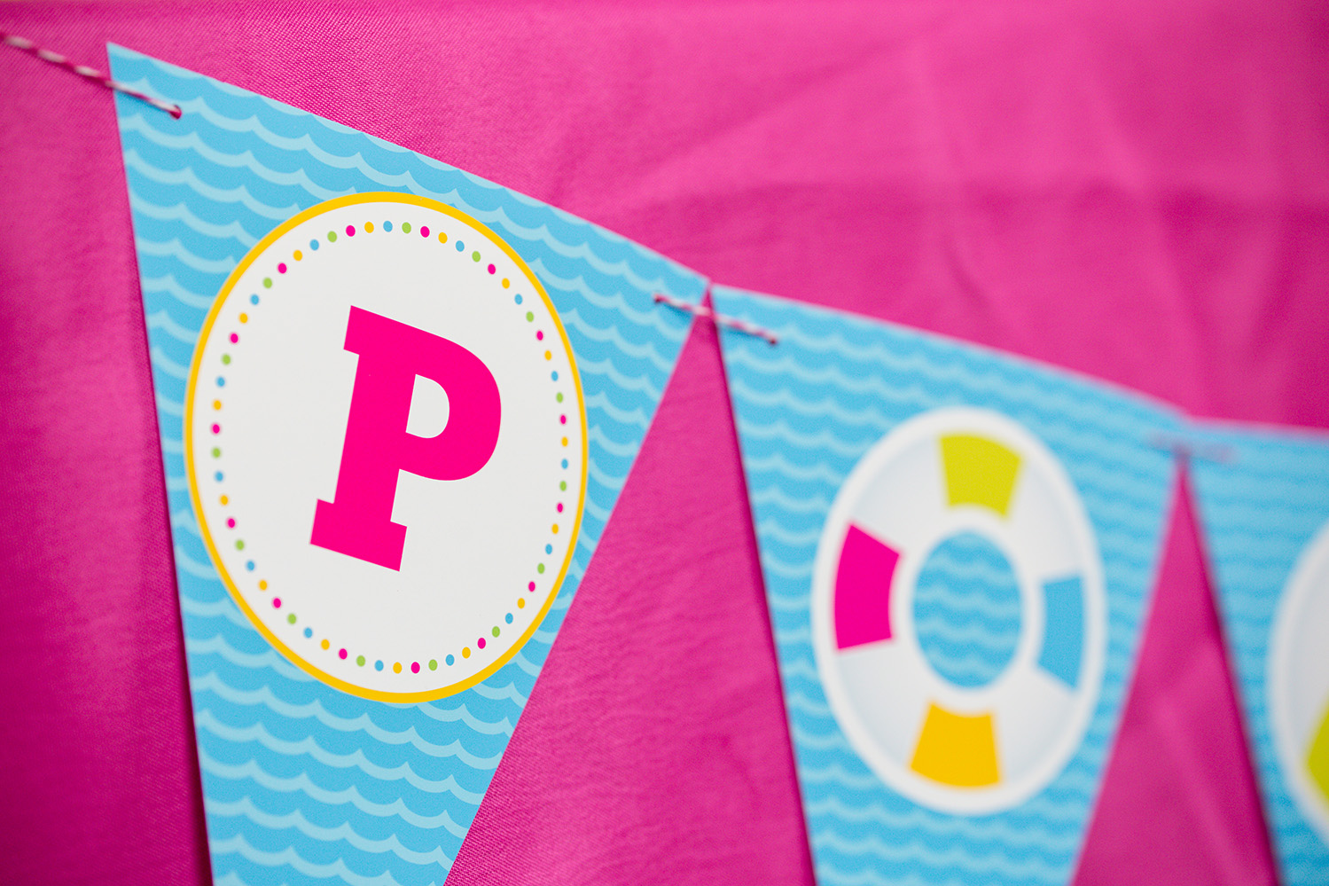 Printable Pool Party Birthday Banner 505 Design Inc