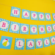 Girls Pool Party Birthday Banner