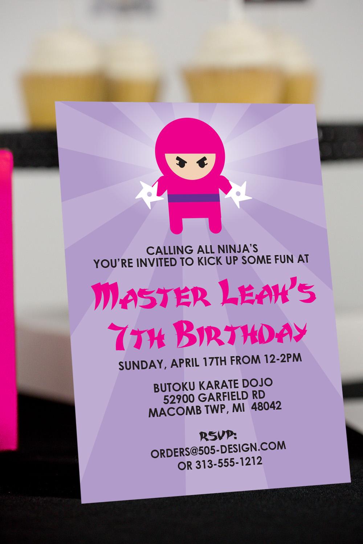 Printable Ninja Girl Birthday Party Decorations 505
