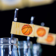 Basketball Party Straw Flags