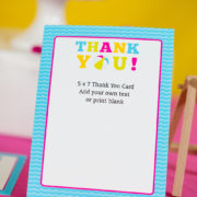 Girls Pool Party Thank You Card