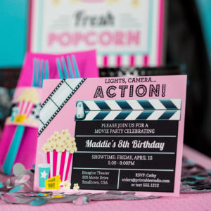 movie Party invitation pink